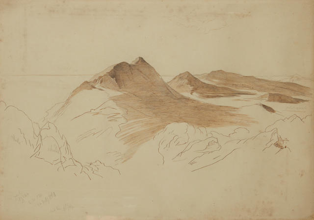 Edward Lear, Mountainous coastline, Corfu, pen & ink
