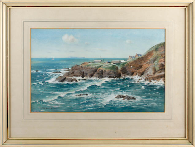 English School, 20th Century  A rocky coastline with rough sea (a pair)