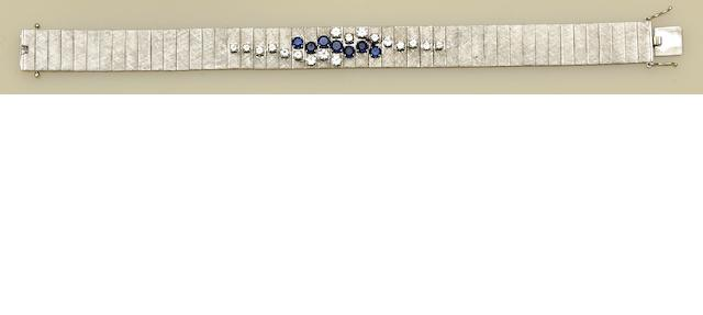 A sapphire and diamond set bracelet
