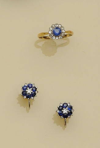 A pair of sapphire and diamond cluster earclips
