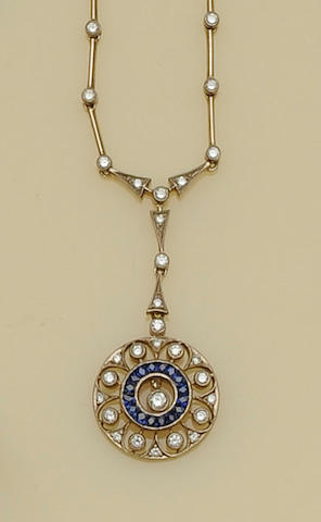 A sapphire and diamond pendant necklace