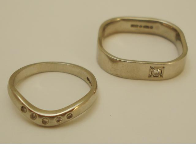 Two diamond-set band rings