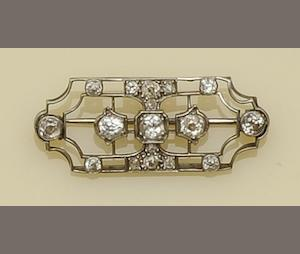 A Victorian diamond set panel brooch