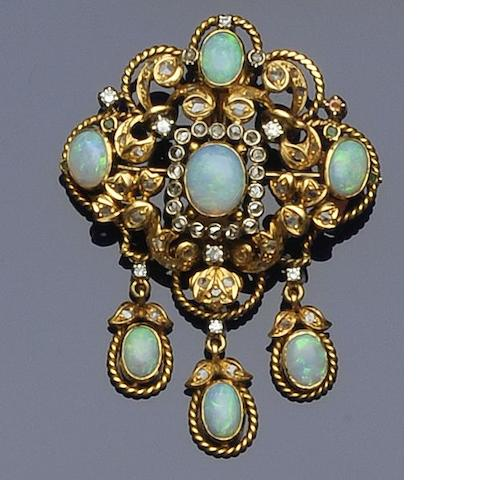 An opal, diamond and emerald brooch/pendant