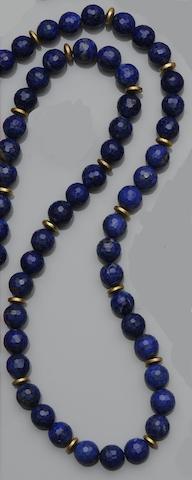 A lapis lazuli bead necklace