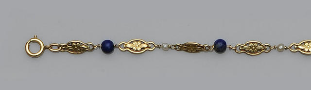 A lapis lazuli and seed pearl bracelet