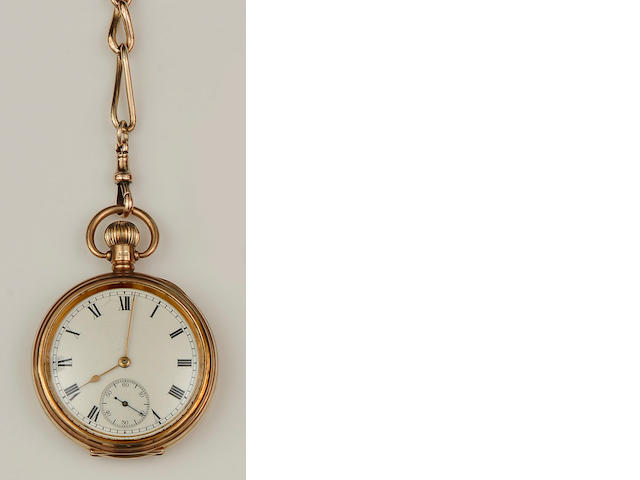A 9ct gold open face pocket watch and Albert chain (4)