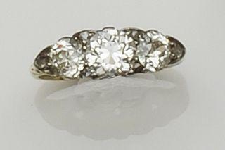 A diamond three stone ring