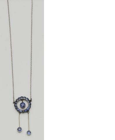 A sapphire pendant and a sapphire and diamond cocktail watch (2)