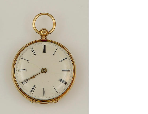 An early Victorian 18ct gold open face pocket watch