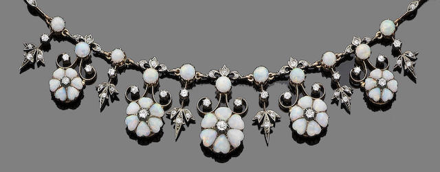 An opal and diamond necklace and earring suite, (2) (partially illustrated)