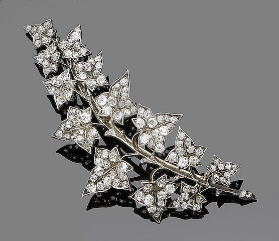 A diamond-set brooch,