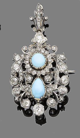 A mid 19th century turquoise and diamond brooch/pendant,