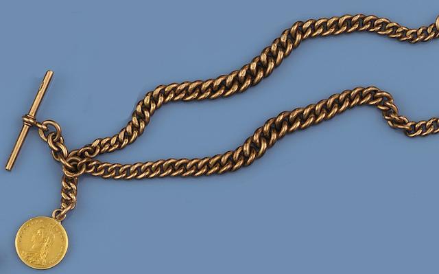 A 9ct curb-link Albert chain
