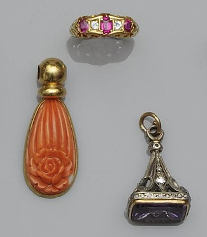 An amethyst and diamond fob pendant (3)