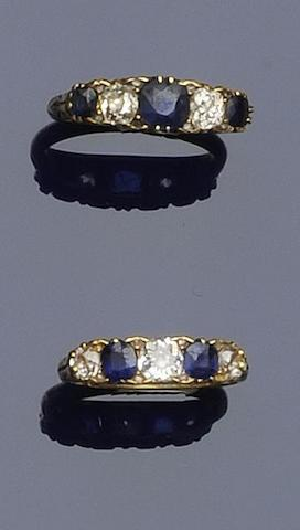 Two sapphire and diamond five stone rings