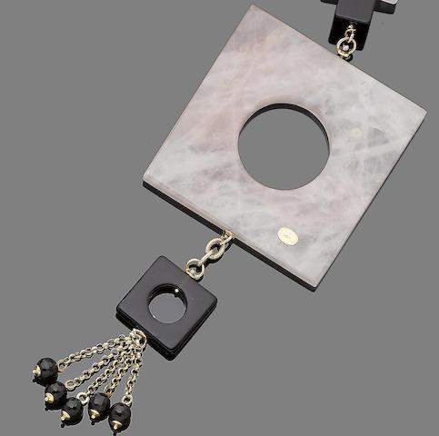 A rose quartz, onyx and diamond sautoir