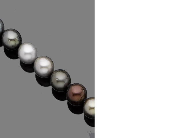 A cultured pearl necklace with diamond-set clasp