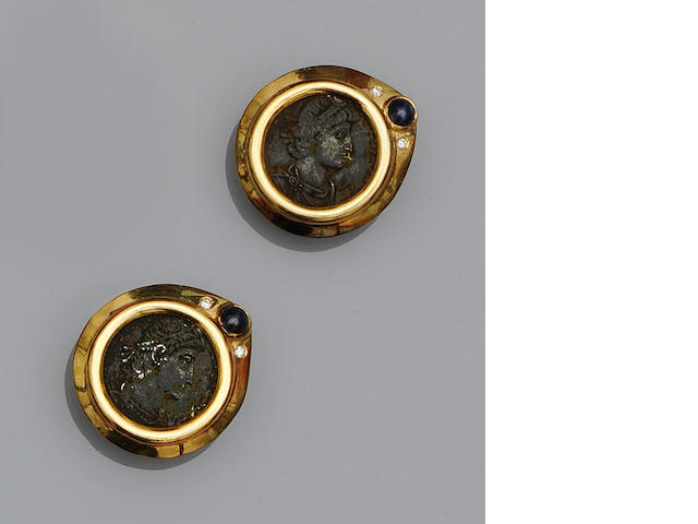 A pair of sapphire, diamond and coin set earstuds