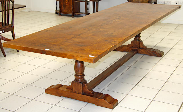 A large oak reproduction refectory table,