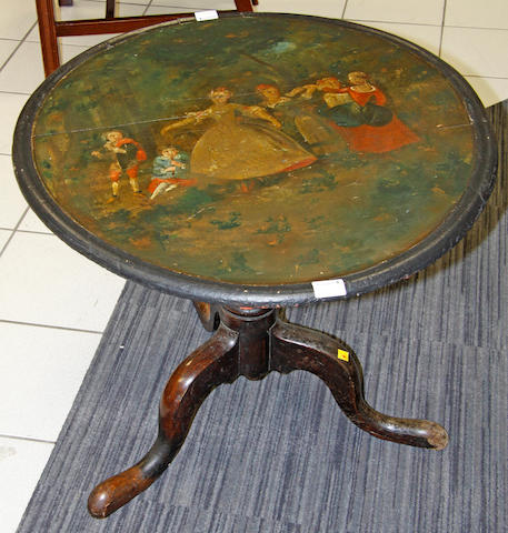 A painted oval topped tripod table,