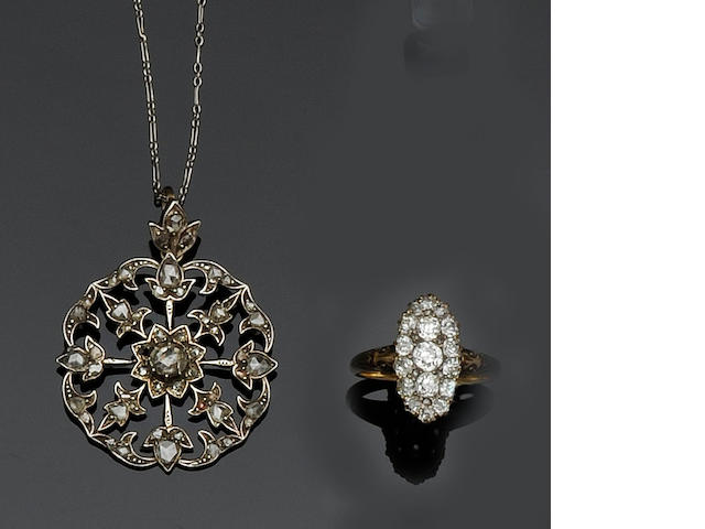 A marquise-shaped cluster ring and a rose-cut diamond pendant (2)