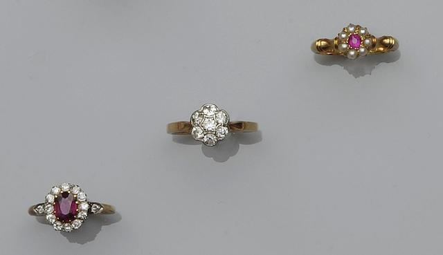 Three gem set rings