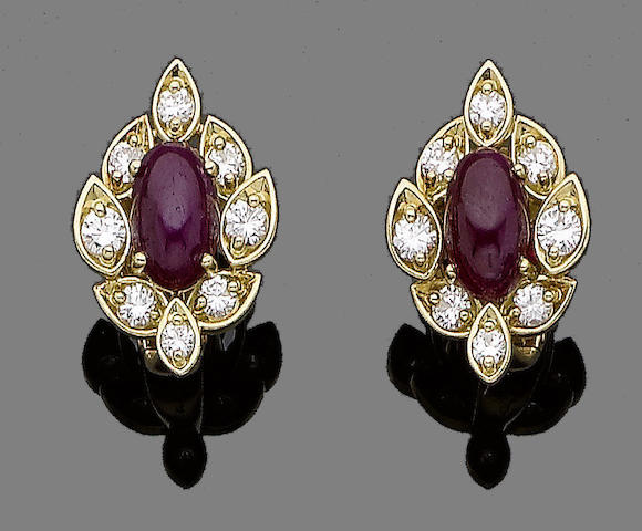 A pair of ruby and diamond earrings, by Fred