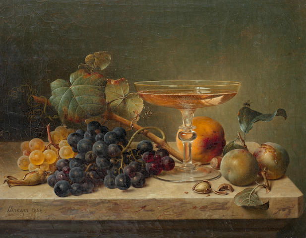 Johann Wilhelm Preyer (German, 1803-1889) Still life of fruit, nuts and a glass on a marble ledge
