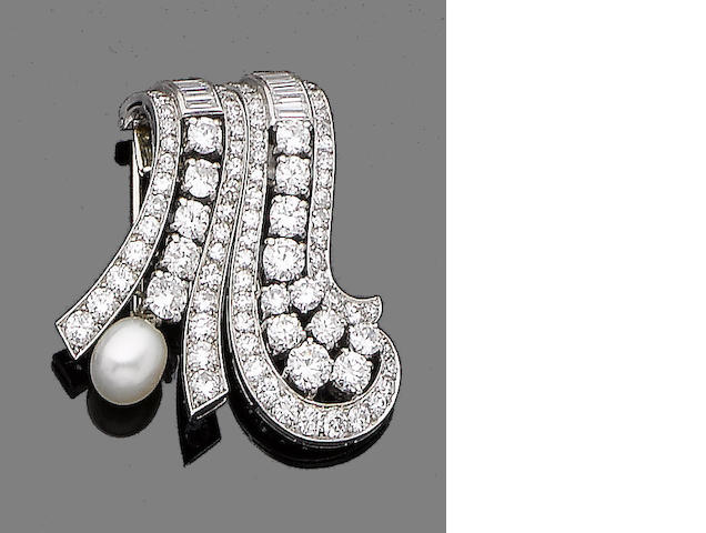 A diamond and pearl double-clip brooch,