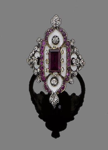 A gold, ruby, enamel and diamond ring