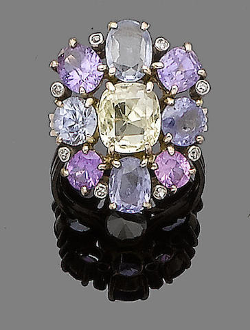 A multi-coloured sapphire cluster ring