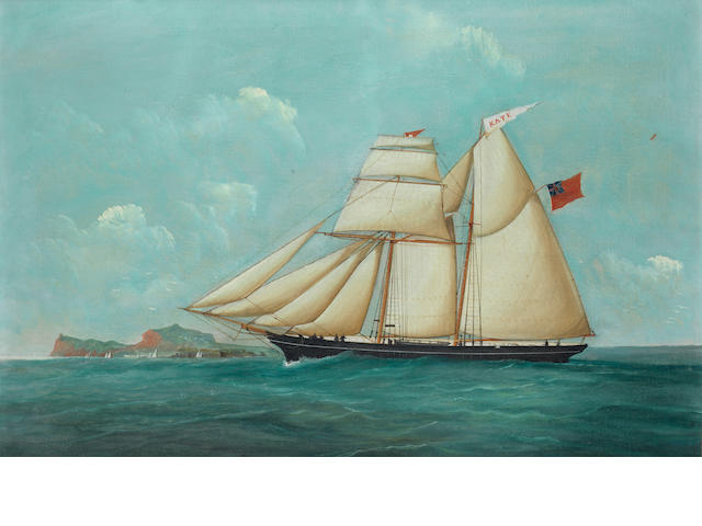 English School, 19th century The British two masted schooner Kate in calm seas