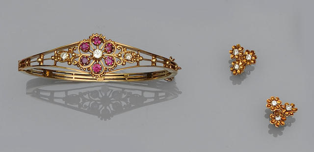 A ruby and diamond set bangle (3)