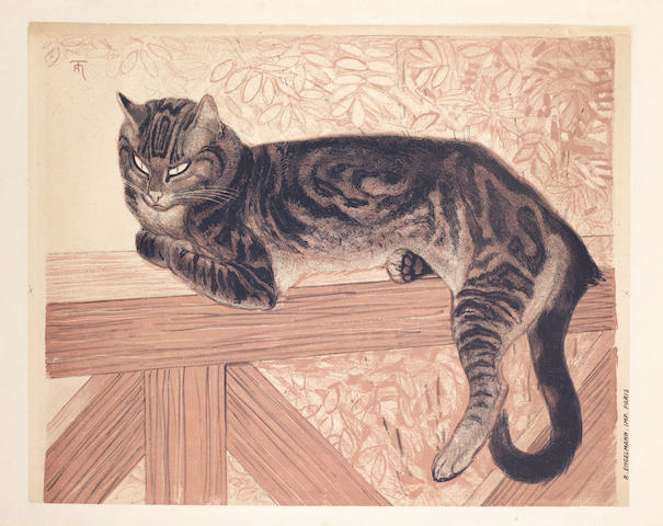 Théophile Alexandre Steinlen (Swiss/French, 1859-1923) L'été, ou le chat sur une balustre Lithograph in colours, 1909, on wove, backed onto linen, from an edition of 250, printed by Engelmann, Paris, published by Sagot, Paris, 528 x 628mm (20 3/8 x 24 3/4in)(SH) (unframed)