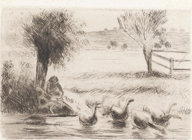 Camille Pissarro (French, 1830-1903) Gardeuse d'Oies Etching, 1888, first state of three, on japan, 135 x 193mm (5 3/8 x 7 5/8in)(PL) unframed