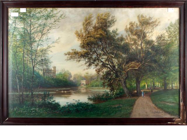 Carl Ludwig Fahrbach (German, 1835-1902) Parkland scene