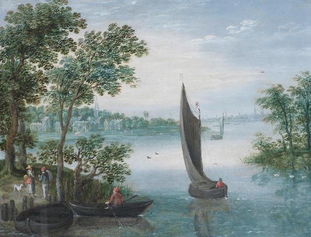 Attributed to Marten Ryckaert (Antwerp 1587-1631) An extensive river landscape,  unframed