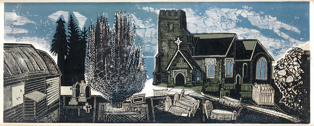 Edward Bawden R.A. (British, 1903-1989) Lindsell Church Colour linocut, 1963, on wove, signed and numbered 35/50 in pencil, 165 x 70cm.  CHECK DATE & DIMENSIONS original 616 x 1560mm