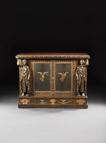 A rare Neapolitan late 19th century, bronzed and polychrome decorated cabinet, by A. Caponetti, for the Achilleion Palace, Corfu, dated 1891