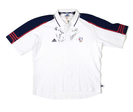 2000 Sydney Olympics replica GB team shirt, hand signed by the GB coxless 4 team