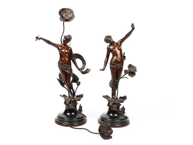 A pair of Art Nouveau bronze figures, French, circa 1900
