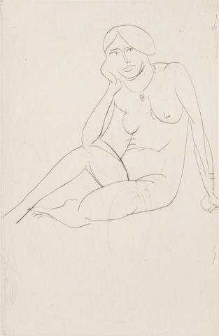 Henri Matisse (French, 1869-1954) Femme Assise - Nu Drypoint, 1914, on Gelder Zonen, signed and numbered 7/12 in black ink lower right, 148 x 99mm (5 3/4 x 4in)(PL) unframed