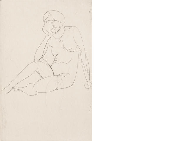 Henri Matisse (French, 1869-1954) Femme Assise - Nu Drypoint, 1914, on Gelder Zonen, signed and numbered 7/12 in black ink lower right, 148 x 99mm (   )(PL)