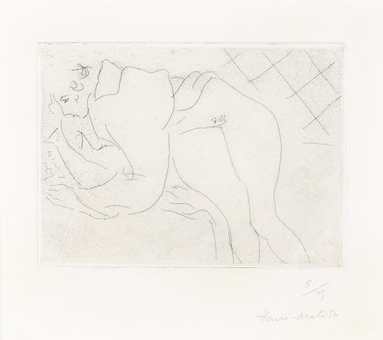 Henri Matisse (French, 1869-1954) Figure lisant Etching, 1927, on chine appliqué laid onto Arches, signed and numbered 5/25 in pencil, 109 x 148mm (4 1/4 x 5 6/8in)(PL)