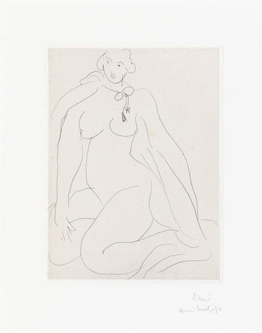 Henri Matisse (French, 1869-1954) Nu accroupi une cordelière nouée autour du cou Etching, 1931, on Arches, the full sheet with deckle edges, signed and inscribed 'Essai' in pencil, one of two proofs aside from the edition of 25, 121 x 89mm (4 3/4 x 3 1/2in)(PL) unframed