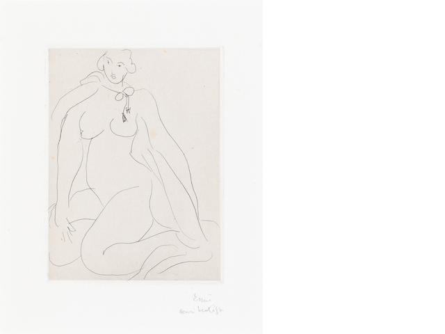 Henri Matisse (French, 1869-1954) Nu accroupi une cordelière nouée autour du cou Etching, 1931, on Arches, signed and inscribed 'Essai' in pencil, one of two proofs aside from the edition of 25, 121 x 89mm (4 3/4 x 3 1/2in)(PL)