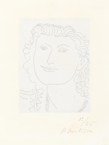 Henri Matisse (French, 1869-1954) Visage souriant Etching, 1946, on chine appliqué laid onto wove, signed and numbered 12/25 in pencil, 146 x 108mm (5 3/4 x 4 1/4in)(PL)