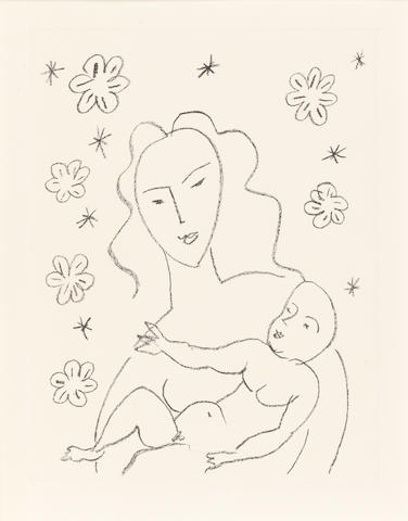 Henri Matisse (French, 1869-1954) Vierge et Enfant sur fond de fleurs et d'étoiles Lithograph, 1950/51, a proof aside from the edition of 100, on chine appliqué laid onto wove, 500 x 378mm (19 5/8 x 14 78in)(SH)  ed 100 sig & no 2TP 8AP