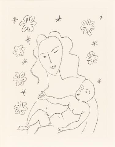 Henri Matisse (French, 1869-1954) Vierge et Enfant sur fond de fleurs et d'étoiles Lithograph, 1950/51, a proof aside from the edition of 100, on chine appliqué laid onto wove, 500 x 378mm (19 5/8 x 14 78in)(SH)  ed 100 sig & no 2TP 8AP